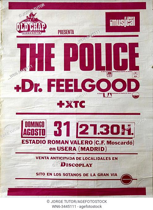 The Police, Dr Feelgood and XTC. Madrid August 1980. Musical concert poster