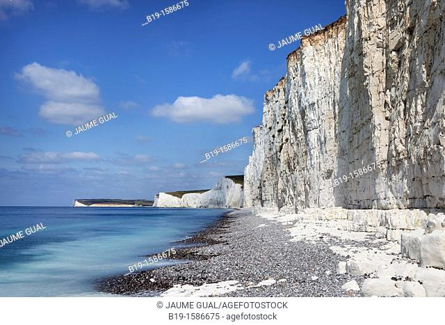 Beach at Birling Gap, Seven Sisters, South Downs National Park, Sussex, England, United Kingdom