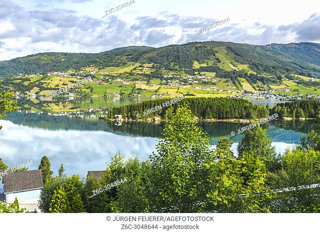lake Hafslovatnet, Hafslo, Norway, mirroring of landscape in the lake