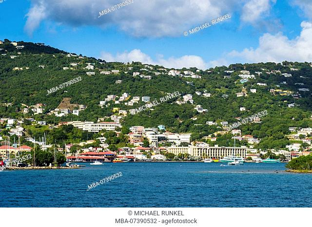 Charlotte Amalie capital of St. Thomas seen from the ocean, US Virgin Islands