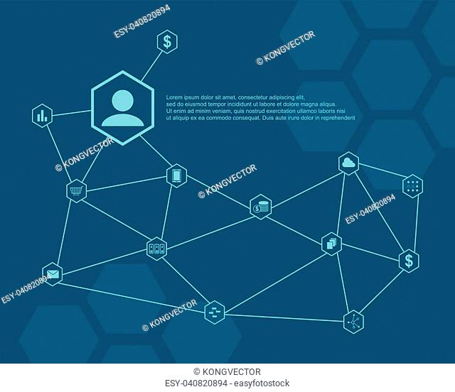 Collection block chain style background vector illustration