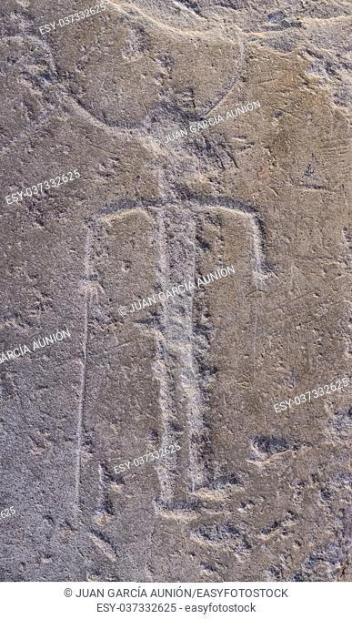 Badajoz, Spain: Figure with sword belonging to Warrior Stela of Majada Honda. Badajoz Archeological Museum