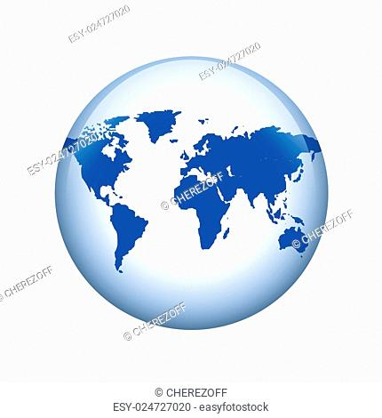 World map. Spherical glossy button. Web element
