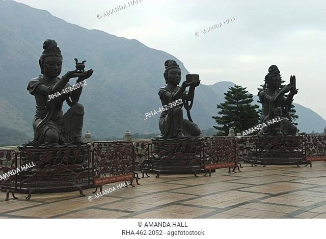 Bodhisattvas Buddhist saints around the Big Buddha statue, Lantau Island, Hong Kong, China, Asia