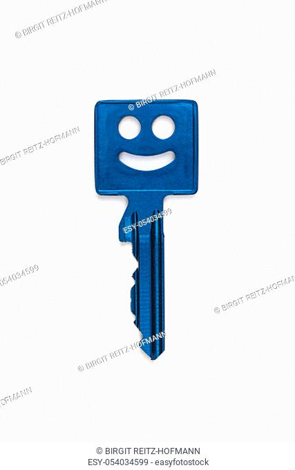 Blue metallic key with smiley face isolated on white background