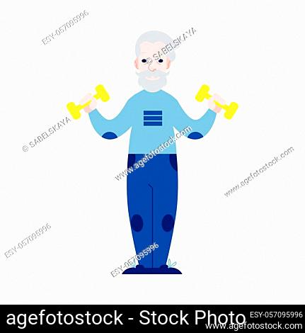 Vector illustration of aged man raising hands with dumbbells in flat style. Isolated elderly male character with gray hair doing sport exercises for healthy and...