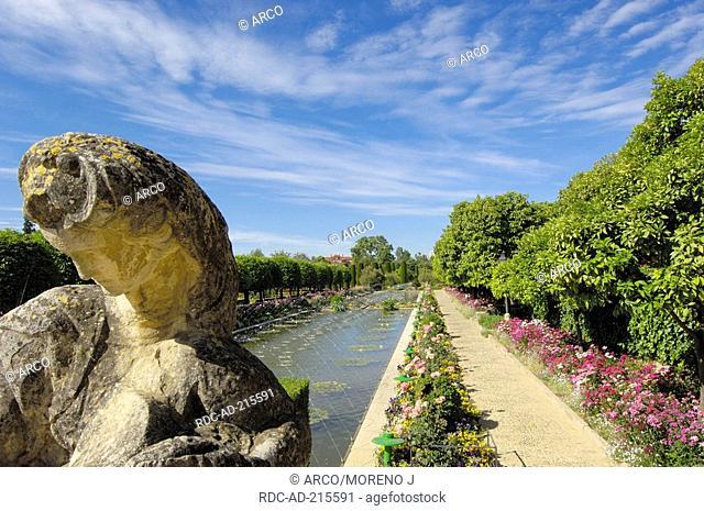 Pond in gardens, Alcazar de los Reyes Cristianos, Cordoba, Andalusia, Spain