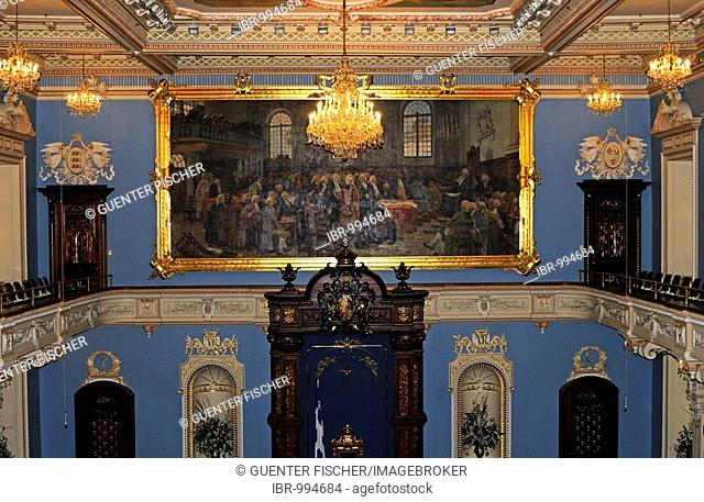 Rich decoration in the parliament assembly room, Hotel du Parlement, Quebec City, Canada, North America