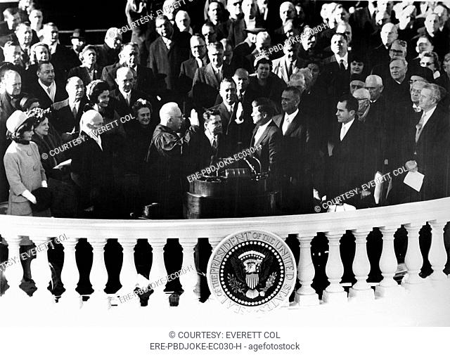 JOHN F.KENNEDY, being sworn in as President, at his Inauguration, January 20, 1961