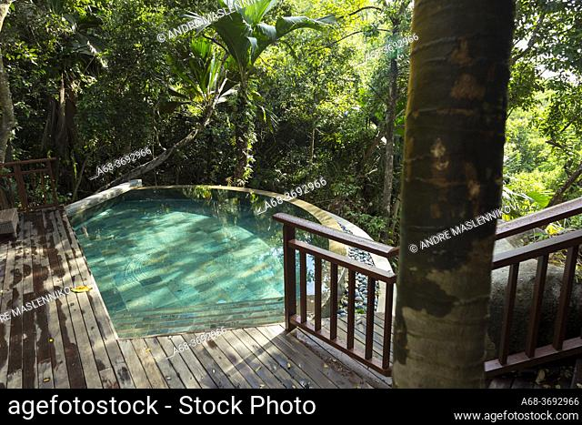 Pool in Constance Hotel Ephelia in Mahe, Seychelles. Part of Morne Seychellois National Park