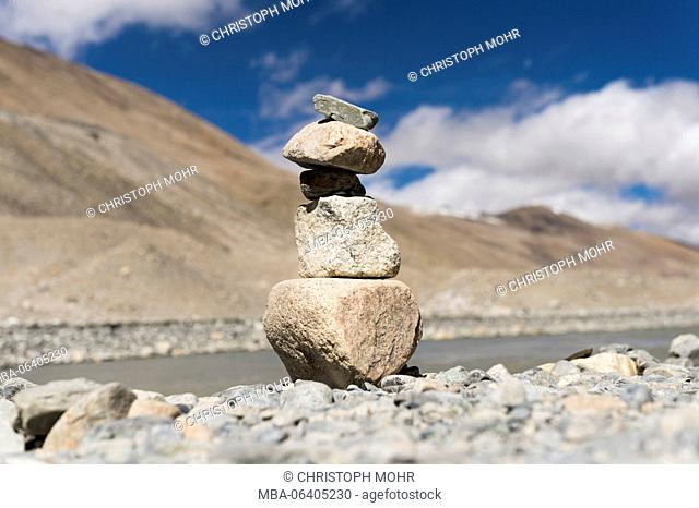 Tibet, the base camp of the Mount Everest, mani stones