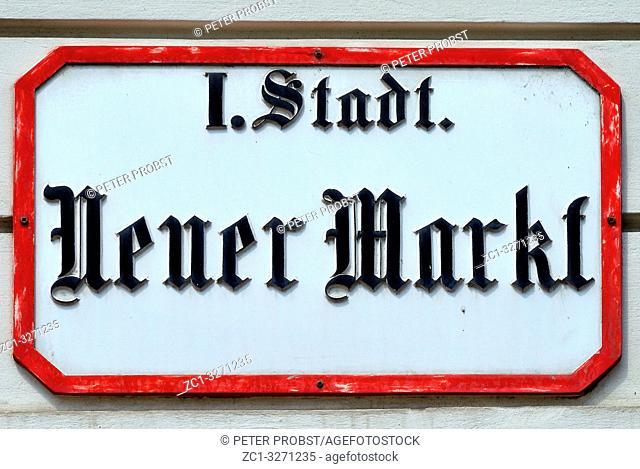 Street sign of the square Neuer Markt in Vienna - Austria