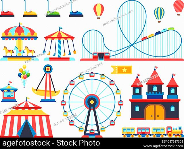 Amusement park attractions. Train, ferris wheel, carousel and roller coaster flat vector icons. Amusement and carousel, park with circus and festival...
