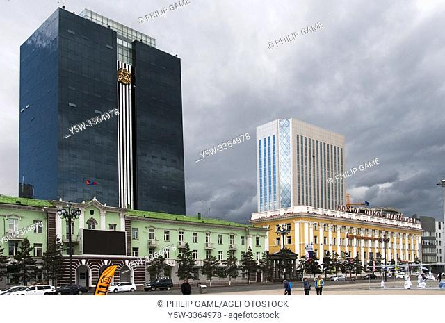 Sukhbaatar Square, Ulaanbaatar, is the heart of the Mongolian capital, lined with public and institutional buildings