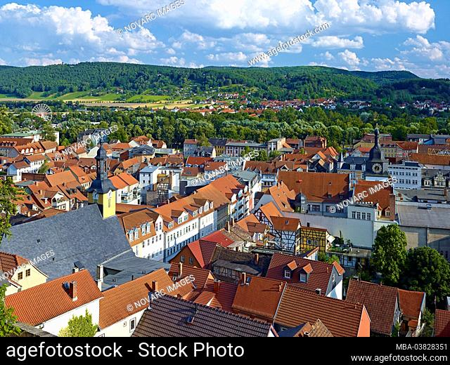 View over Rudolstadt with old and new town hall, district Saalfeld-Rudolstadt, Thuringia, Germany