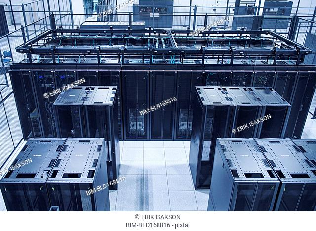 High angle view of technology in server room