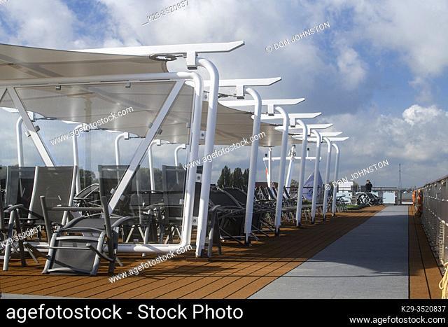 Upper deck of the Viking Ve river cruiser, Waal River, Gelderland, Netherlands