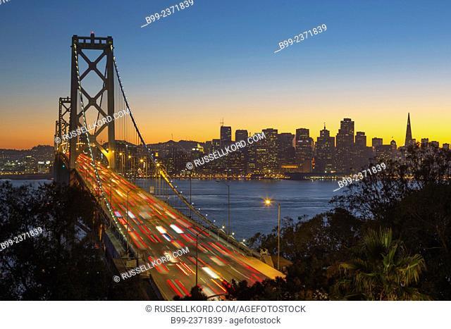 Rush Hour Traffic Western Oakland Bay Bridge Yerba Buena Island Overlook San Francisco California Usa