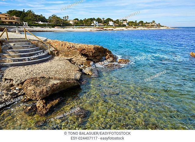 Denia Las Rotas in Mediterranean sea of Alicante Spain
