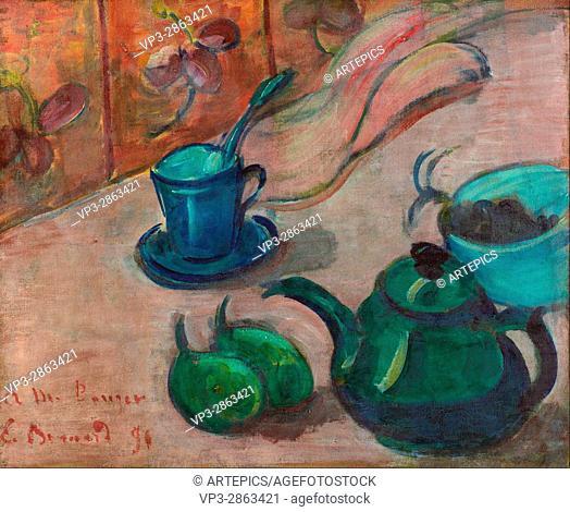 Emile Bernard - Still life with teapot, cup and fruit - Van Gogh Museum, Amsterdam