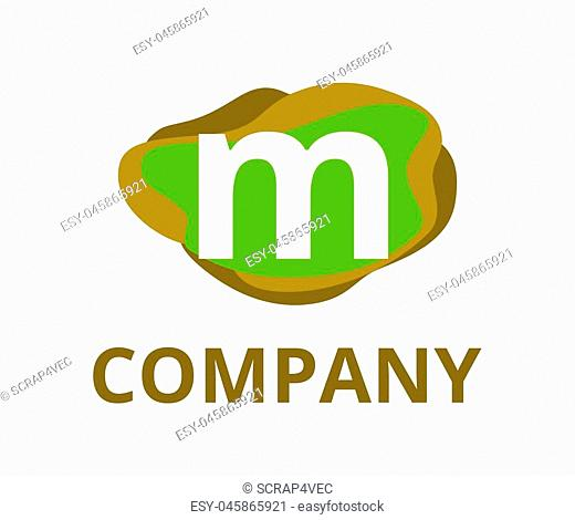 green and brown color abstract chemical liquid water logo graphic design idea illustration with modern clean style for any professional company with initial...