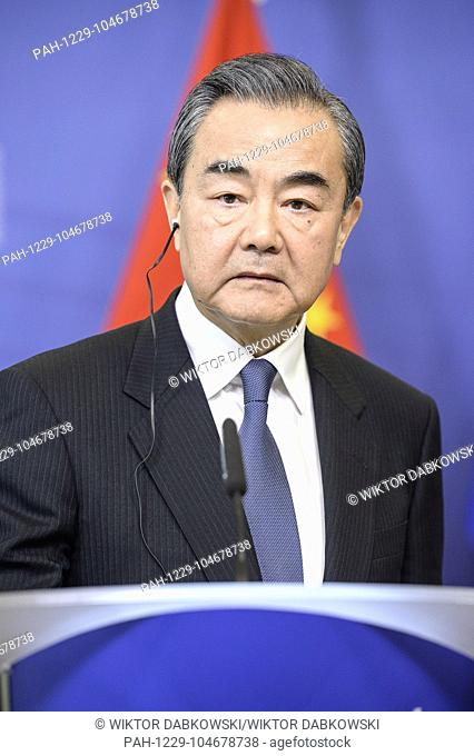 China's Foreign Minister Wang Yi holds a press conference at European Commission headquarters in Brussels, Belgium on 01.06