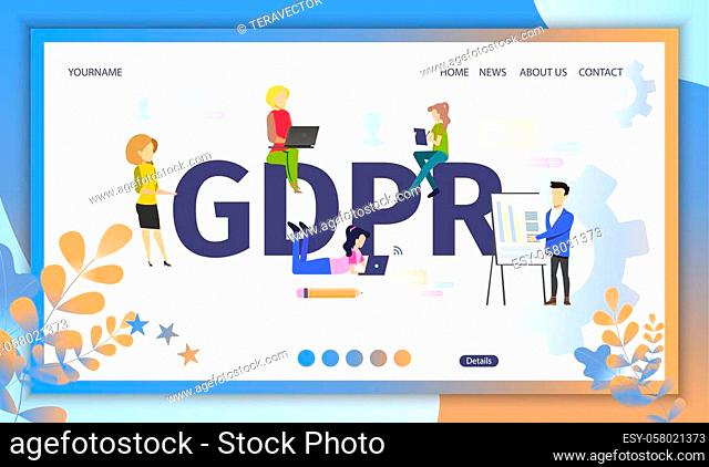 General Data Protection Regulation Flat Vector Web Banner. Internet Users Using Computers, Surfing Online, Business Owners Collecting Data Illustration