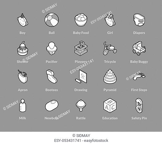 Isometric outline icons, 3D pictograms vector set - Baby and childhood symbol collection
