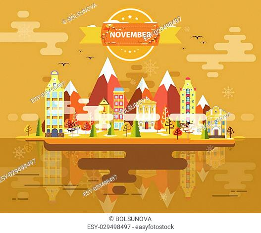 Autumn landscape. Small town Set 1 Month of November Infographics Calendar Mountain, nature, park, building, Flat design Stock Image Vector