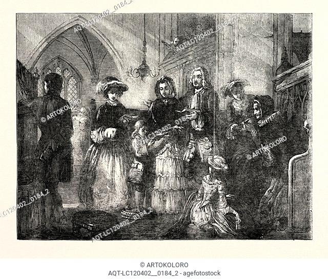 EXHIBITION OF THE ROYAL ACADEMY, THE SQUIRE'S PEW PAINTED BY T.F. MARSHALL, 1851 engraving