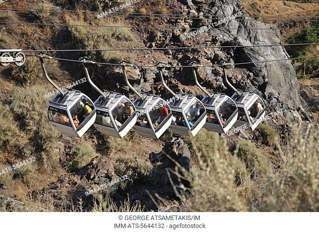 The cable car in Fira. Fira, Santorini, Greece, Europe