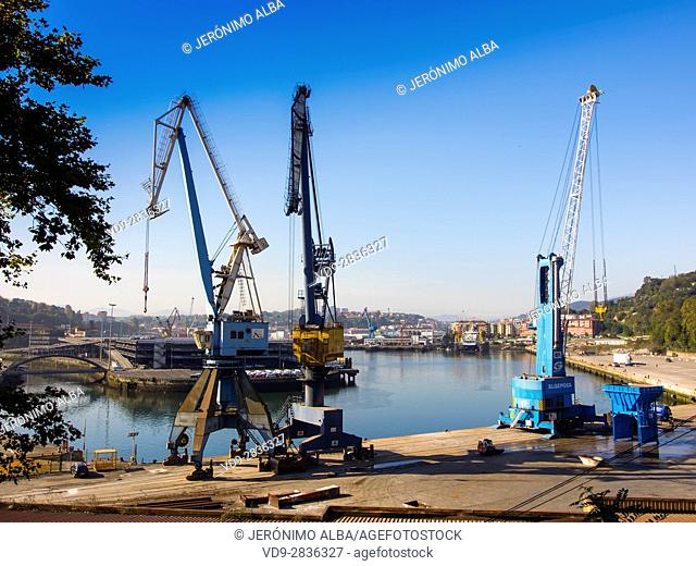 Loading crane, port of Pasajes Gipuzkoa, Basque Country, Spain. Europe