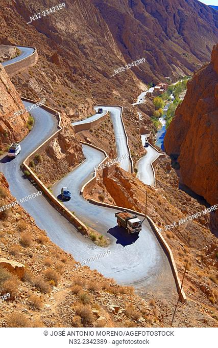 Mountain Road, Winding road, Dades Valley, Sinuous road, Dades Gorges, High Atlas, Morocco