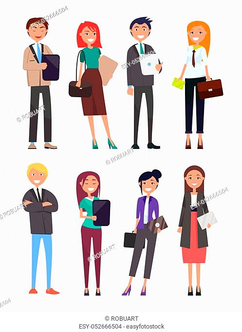 People wearing formal wear costumes with tie, holding business papers and handbags, women men smiling friendly vector illustration isolated on white