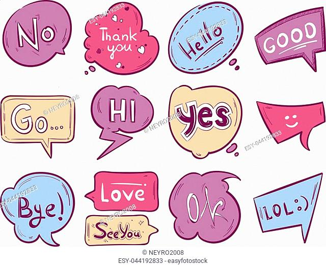 Vector sketch doodle speech bubble with communication phrases. Graphic message text, of set illustration