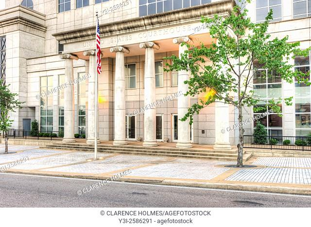 Front entrance to the US District Courthouse for the Western District of Tennessee in Jackson, Tennessee