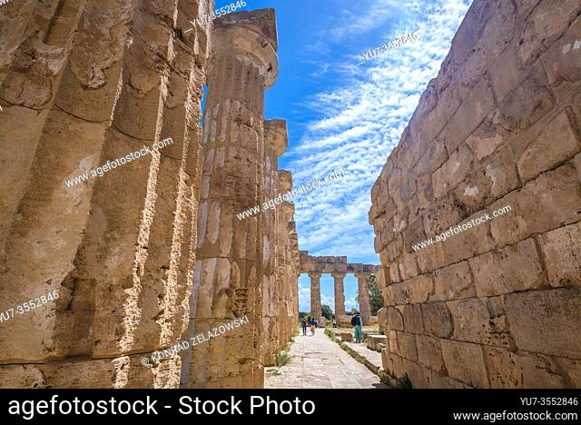Doric order Temple E also called Temple of Hera in Selinunte ancient Greek city on the south western coast of Sicily in Italy