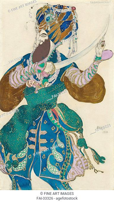 Costume design for the ballet Scheharazade by N. Rimsky-Korsakov by Bakst, Léon (1866-1924)/Pencil, watercolour and gouache on paper/Theatrical scenic...