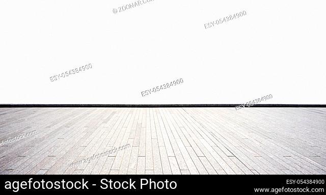 empty brick floor on white background