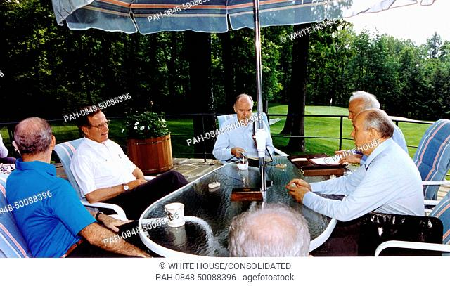 Camp David, Maryland - June 2, 1990 -- United States President George H.W. Bush meets with Union of Soviet Socialist Republics (USSR) President Mikhail...