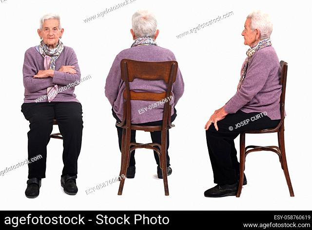 same senior woman sitting on white background, front, back and side view