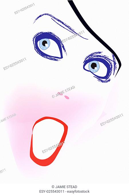 Very close up of a abstract drawing of a face isolated over a white background