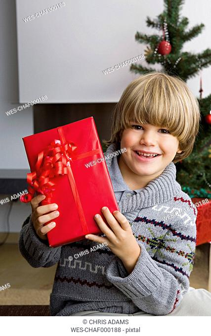 Portrait of happy little boy with Christmas present