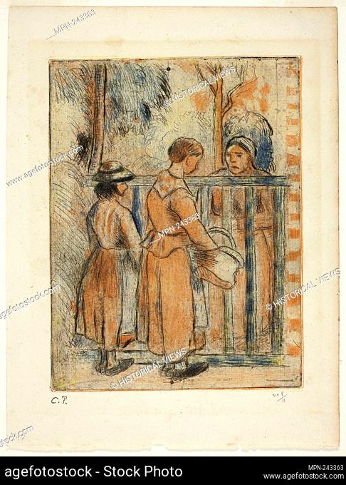 Beggar Women - c. 1894, printed 1930 - Camille Pissarro (French, 1830-1903) printed by Alfred Porcabeuf (French, 1895-c. 1946) printed by Jean Cailac (French