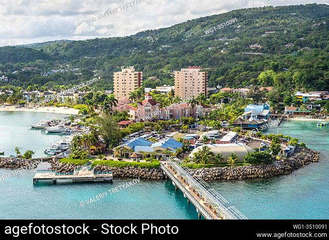 Ocho Rios, Jamaica - April 22, 2019: View from the ship to the Cruise port in the tropical Caribbean island of Ocho Rios, Jamaica