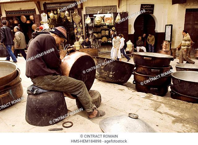 Morocco, Middle Atlas, Fes, Imperial City, Fes el Bali District, the tinsmiths souk