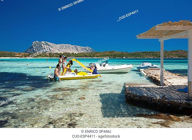 Cala Brandinchi, San Teodoro, on background Tavolara Island, Sardinia, Italy, Europe
