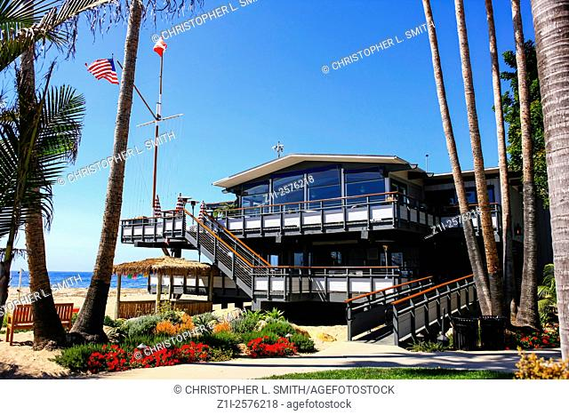 The Very classy Santa Barbara Yacht Club overlooking the beach and harbor on the pacific coast of California