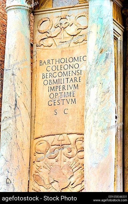 Venice, Italy - OCT 01, 2018: The inscription on the pedestal of Equestrian statue of Bartolomeo Colleoni, Castello, Venice.Italy