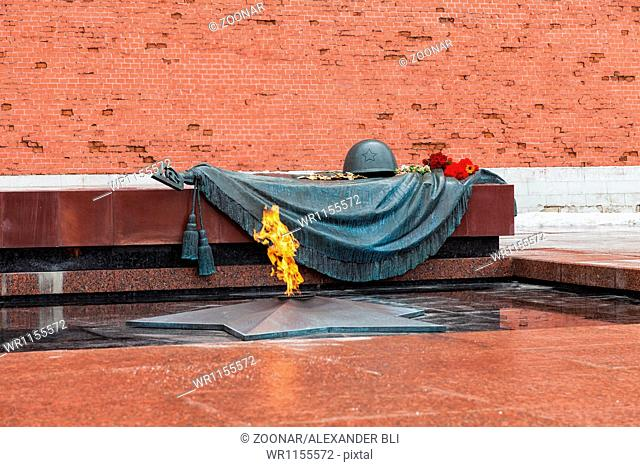 Tomb of the Unknown Soldier with eternal flame in Alexander Garden (Moscow)